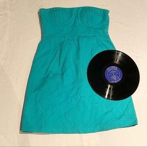Max & Cleo Strapless teal dress